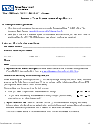 """Form FINT02 """"Escrow Officer License Renewal Application"""" - Texas"""