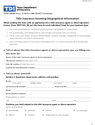 """Form FINT08 """"Title Insurance Licensing Biographical Information"""" - Texas"""