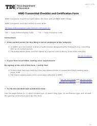 """Form LAH312 """"HMO Transmittal Checklist and Certification Form"""" - Texas"""
