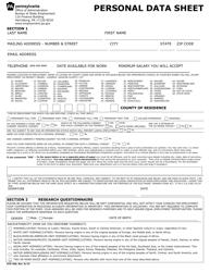 "Form STD-300 ""Personal Data Sheet"" - Pennsylvania"