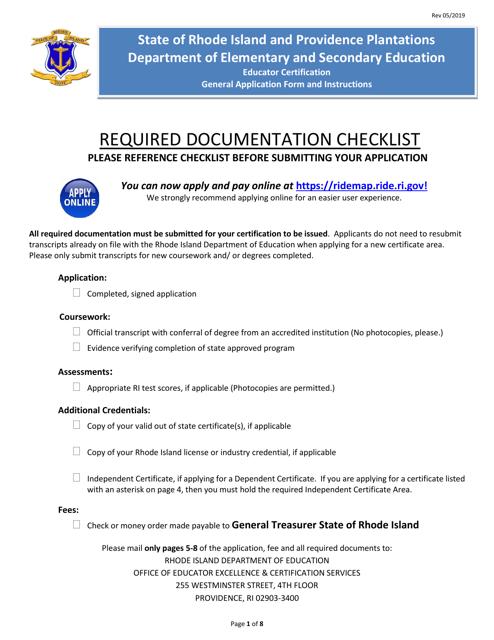 """Rhode Island Educator Certification - General Application Form"" - Rhode Island Download Pdf"