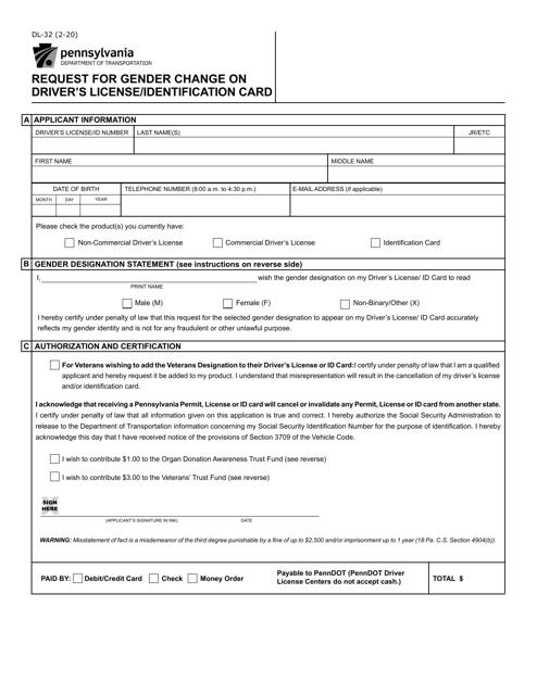 Form DL-32  Printable Pdf