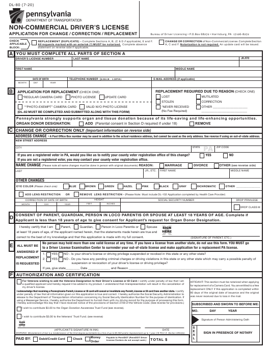 Form DL-80  Printable Pdf