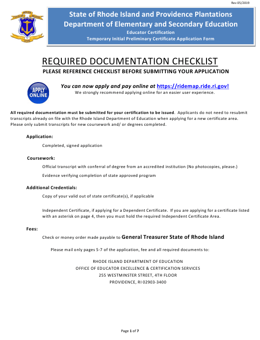 """""""Temporary Initial Educator Certificate Application Form"""" - Rhode Island Download Pdf"""