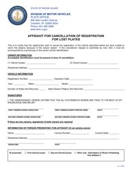 """Affidavit for Cancellation of Registration for Lost Plates"" - Rhode Island"