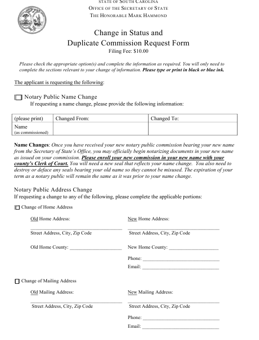 """Change in Status and Duplicate Commission Request Form"" - South Carolina Download Pdf"