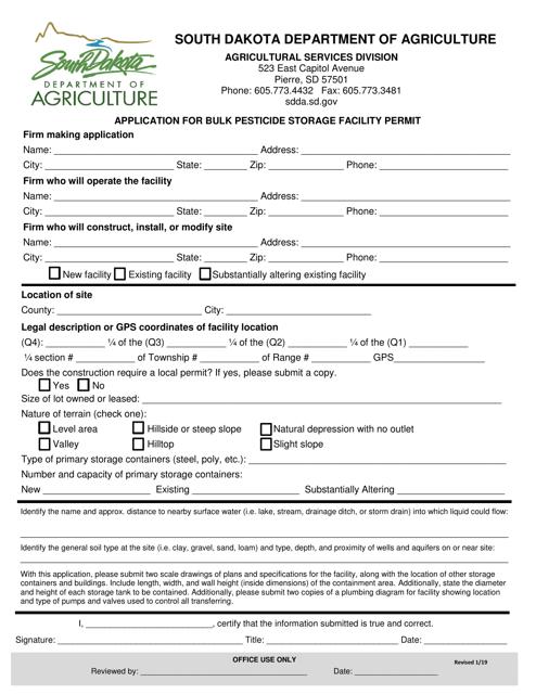 """Application for Bulk Pesticide Storage Facility Permit"" - South Dakota Download Pdf"