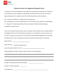 """""""Charter Service Pre-approval Request Form"""" - Tennessee"""