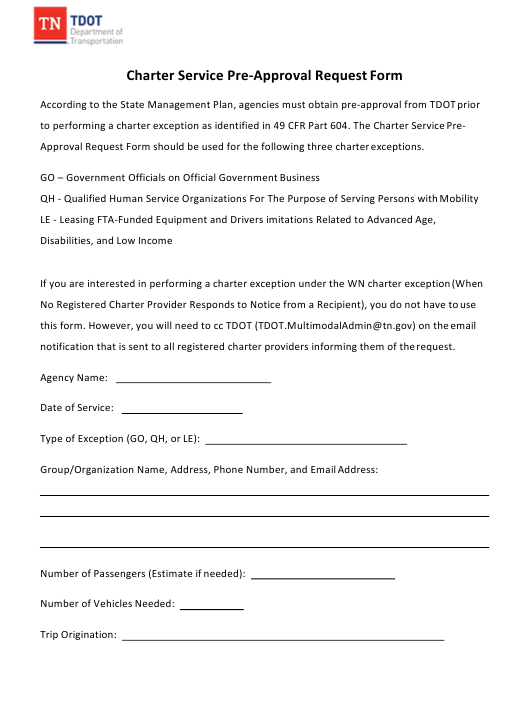 """""""Charter Service Pre-approval Request Form"""" - Tennessee Download Pdf"""