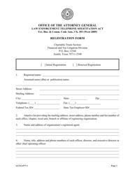 """Form LETSA97 """"Letsa Registration Form"""" - Texas"""