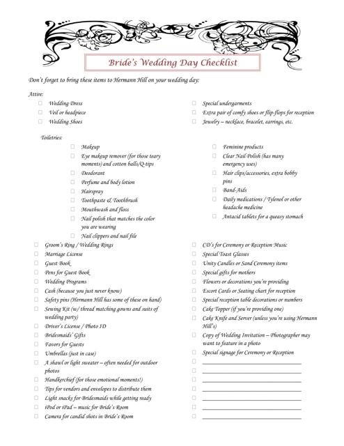 Bride's Wedding Day Checklist Template Download Pdf
