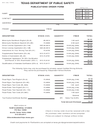 "Form GS-5 ""Publication Order Form"" - Texas"