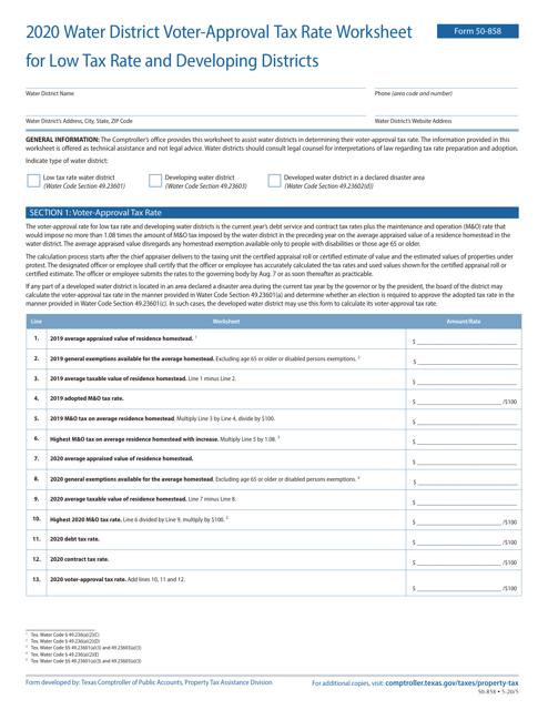 Form 50-858 2020 Printable Pdf