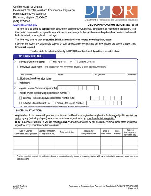 Form A406-01DAR Printable Pdf