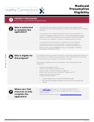 "DHHS Form 3402 ""Presumptive Eligibility Application"" - South Carolina"