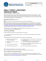 """Small Forest Landowner Checklist Rmap"" - Washington"