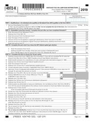 """Form 4972-K """"Kentucky Tax on Lump-Sum Distributions"""" - Kentucky, 2019"""