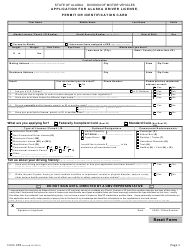 "Form 478 ""Application for Alaska Driver License, Permit or Identification Card"" - Alaska"