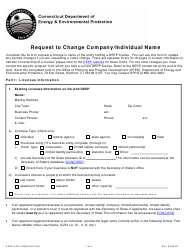 "Form DEEP-CPPU-REQUEST-004 ""Request to Change Company/Individual Name"" - Connecticut"