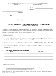 """Family Law Form 12.948(C) """"Order Granting Temporary Custodial Responsibility During Deployment"""" - Florida"""