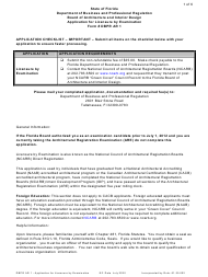 "Form DBPR AR1 ""Application for Licensure by Examination"" - Florida"