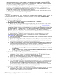 """Form DBPR AR5 """"Application to Qualify Architectural Business Organization"""" - Florida, Page 2"""