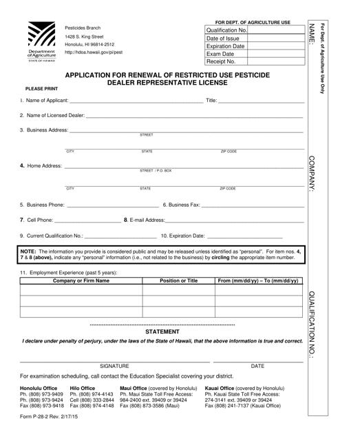 Form P-28-2  Printable Pdf