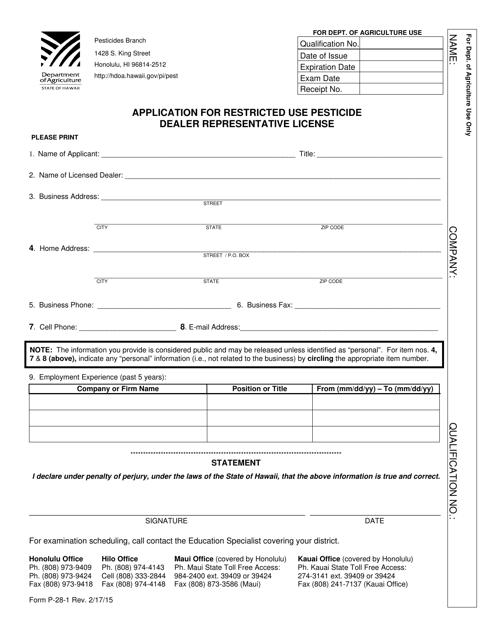 Form P-28-1  Printable Pdf