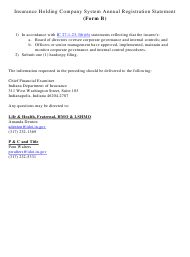 "Form B ""Insurance Holding Company System Annual Registration Statement"" - Indiana"
