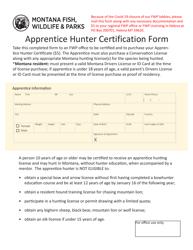"""Apprentice Hunter Certification Form"" - Montana"