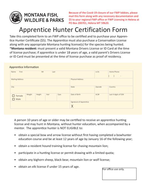 """Apprentice Hunter Certification Form"" - Montana Download Pdf"