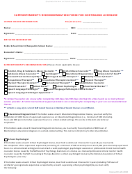 """Superintendent's Recommendation Form for Continuing Licensure - Instructional Support Provider"" - New Mexico"