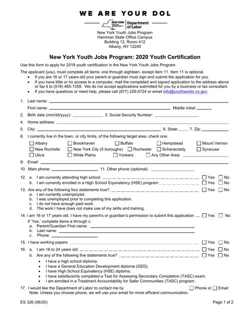 Form ES326 2020 Printable Pdf