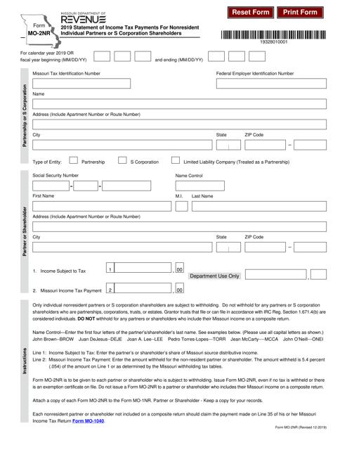 Form MO-2NR 2019 Printable Pdf