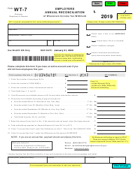 """Form WT-7 (W-107) """"Employers Annual Reconciliation of Wisconsin Income Tax Withheld"""" - Wisconsin, 2019"""