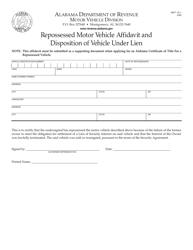 "Form MVT15-1 ""Repossessed Motor Vehicle Affidavit and Disposition of Vehicle Under Lien"" - Alabama"