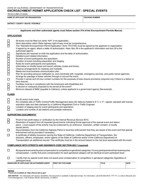 Form TR-0410  Printable Pdf