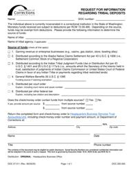 "Form DOC07-011 ""Request for Information Regarding Tribal Deposits"" - Washington"