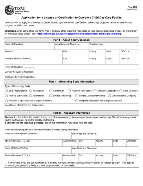 Form 2910  Printable Pdf