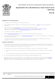"Form LA20 Part B ""Application for Simultaneous Road Closure and Opening"" - Queensland, Australia"