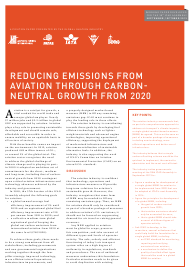 """""""Reducing Emissions From Aviation Through Carbon Neutral Growth From 2020"""""""