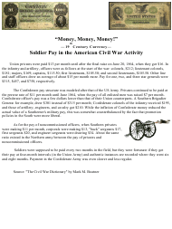 """""""'""""money, Money, Money!'"""" - 19th Century Currency - Soldier Pay in the American Civil War Activity"""""""