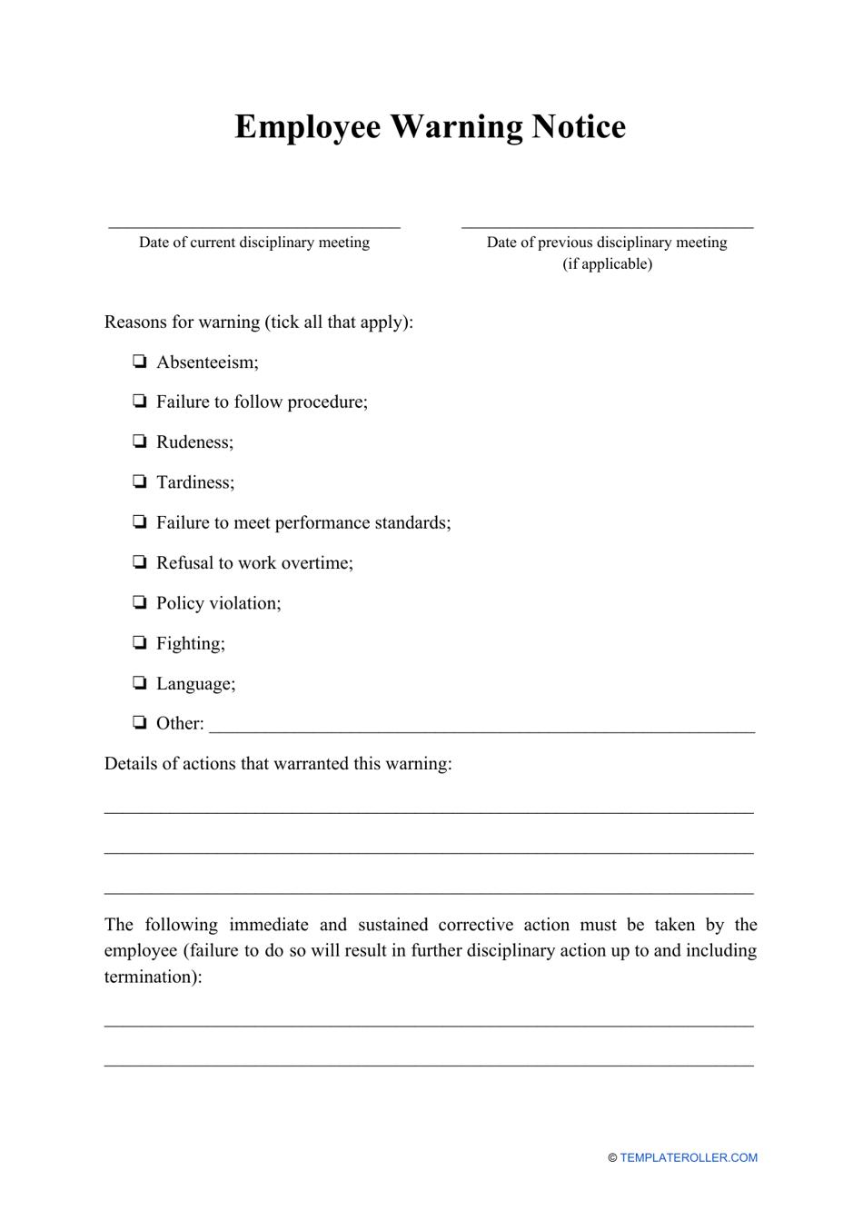 Employee Warning Notice Template Download Printable PDF ...