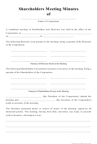 """Shareholders Meeting Minutes Template"""