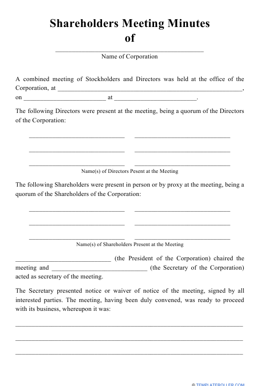 """""""Shareholders Meeting Minutes Template"""" Download Pdf"""