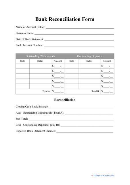 """Bank Reconciliation Form"" Download Pdf"