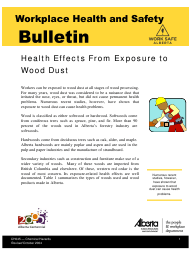 """Form CH045 """"Health Effects From Exposure to Wood Dust"""" - Alberta, Canada"""