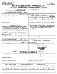 """Form SSA-1199-GE """"Direct Deposit Sign-Up Form (Germany)"""""""