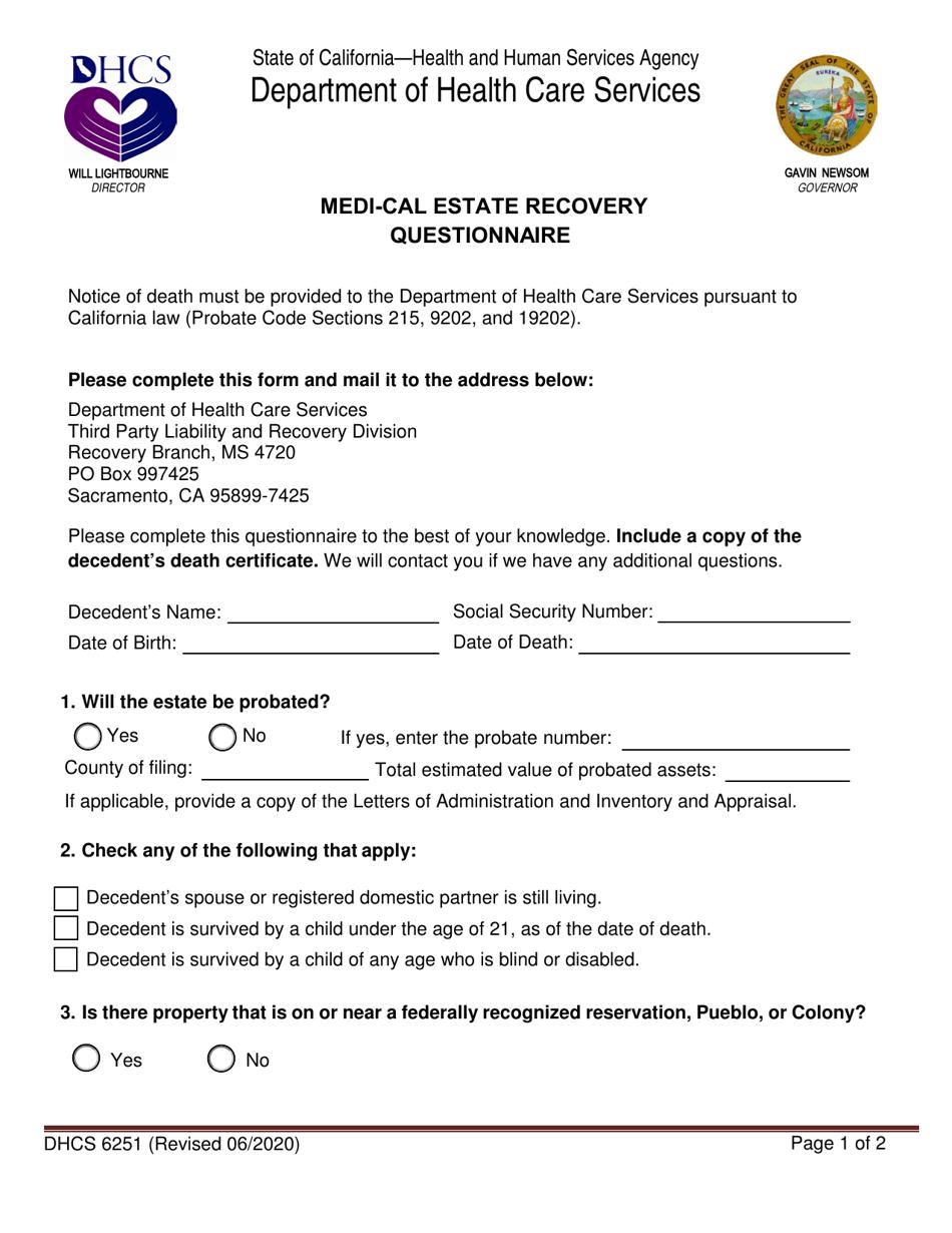 Form DHCS6251 Download Fillable PDF or Fill Online Medi ...