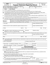 """IRS Form 3911 """"Taxpayer Statement Regarding Refund"""""""